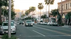 Beverly Drive Establishing Shot at Dusk Stock Footage