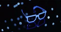 Sun Glasses Awkward Glow Wiggle Blue Blink Stock Footage