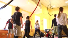 Dancing young class training in pop-circus studio Stock Footage