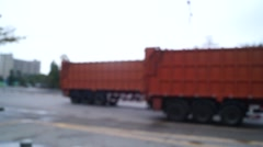Container trucks on the road Stock Footage