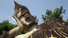 Reclining Buddha at Buddha Park in Vientiane, Laos Stock Footage