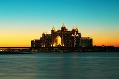 Night view Atlantis Hotel in Dubai, UAE - stock photo