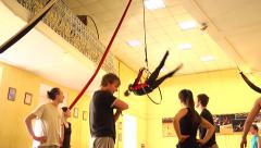 Young people hard training in circus acrobatic troupe Stock Footage