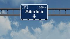 4K Passing Munchen Germany Highway Sign with Matte 1 neutral Stock Footage