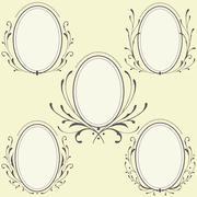 Stock Illustration of Oval Floral frames ornament