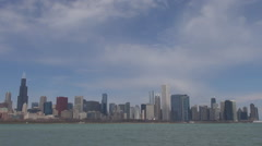 Beautiful Chicago panorama sunny day modern skyscraper tall tower tourism iconic Stock Footage
