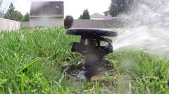 Oscillating lawn sprinkler watering grass in backyard - stock footage