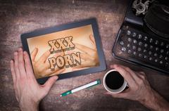 Searching online for porn Stock Illustration