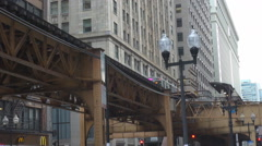 Famous subway train pass Chicago downtown elevated railway commuting commuter US Stock Footage