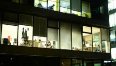 Business buildings (offices) - night - windows with lights - closeup office Stock Footage
