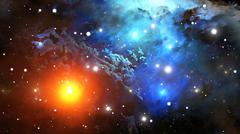 Colorful Nebula. Cloud of gas and dust blocks the light of distant stars. - stock illustration