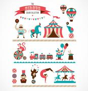 vintage huge circus collection with carnival, fun fair, vector icons and - stock illustration
