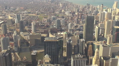 Aerial view Chicago downtown tall tower building traffic street canal cityscape  Stock Footage