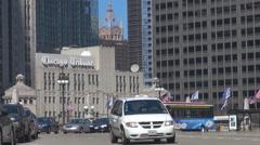 Chicago Tribune building traffic street sunny day headquarter newspaper landmark Stock Footage