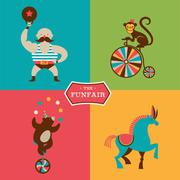 Vintage poster with carnival, fun fair, circus vector background Piirros