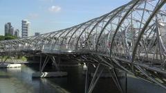Singapore Helix Bridge, Marina Bay Stock Footage