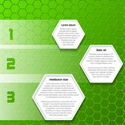 Cool green infographic design with hexagons - stock illustration
