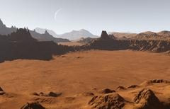 Stock Illustration of Martian landscape with craters and moon
