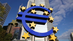 Euro sign in front of the European Central Bank building Stock Footage