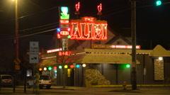 A disco or nightclub establishing shot at night. Stock Footage