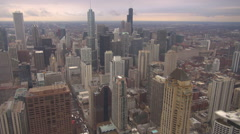 Timelapse Chicago downtown Sears Tower cityscape skyline above view landmark USA Arkistovideo
