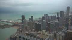 Aerial view Chicago port ferry wheel Lake Michigan modern skyscraper day US icon Stock Footage