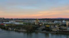 Time Lapse of Sunset Over Industrial Area with Mt. St. Helens  in Portland OR Stock Footage