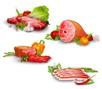 Stock Illustration of Meat With Vegetables Set