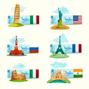 Landmarks Tickets Set - stock illustration