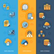 Big data vertical banners set Piirros