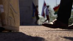 Walking students at an international school cerimony Stock Footage