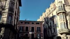 Spain Palma de Mallorca 093 Spanish houses at Placa de Sant Antoni square Stock Footage