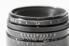 Vintage photo camera lens close up showing aperture 2.8 and distance scale Stock Photos