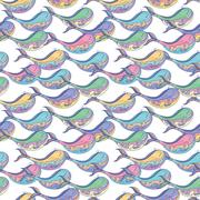 Colorful whale pattern - stock illustration