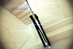Stock Illustration of Reflective Emergency Staircase in Modern Building 3D artwork