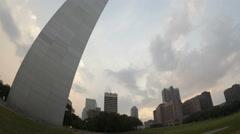 4K Time lapse zoom out Gateway Arch St. Louis fisheye view Stock Footage