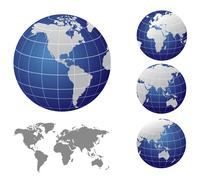 Vector Map and Globe of the World - stock illustration