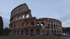 4K Time lapse zoom out Colosseum Rome sunset, Italy Stock Footage