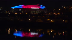 Establishing shot of the Moda Center in Portland, Oregon at night. Stock Footage