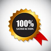 Golden Label 100 % Satisfaction Vector Illustration - stock illustration