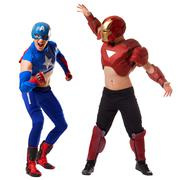 Sexy men dressed in costumes of superheroes Stock Photos