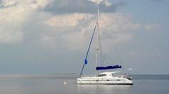 Luxury yatch in beautiful ocean Stock Footage