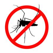 Prohibition sign for mosquitos on - stock illustration