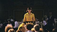 Italy 1974: model walking in a fashion show Stock Footage