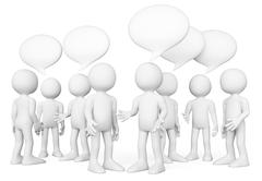 3D white people. Group of people talking. Chat concept Stock Illustration