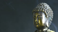 Buddha and Japanese cherry blossom Hanami Stock Footage