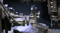The machine is handled round parts, ball. Lathe. Tech machine at the factory. Pr Stock Footage