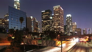 Stock Video Footage of time lapse of Los Angeles city traffic at evening