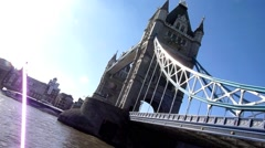 Acute angle of Tower Bridge in London United Kingdom Stock Footage