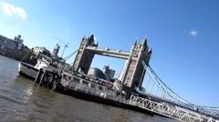 Skew shot of Tower Bridge in  London in the United Kingdom Stock Footage